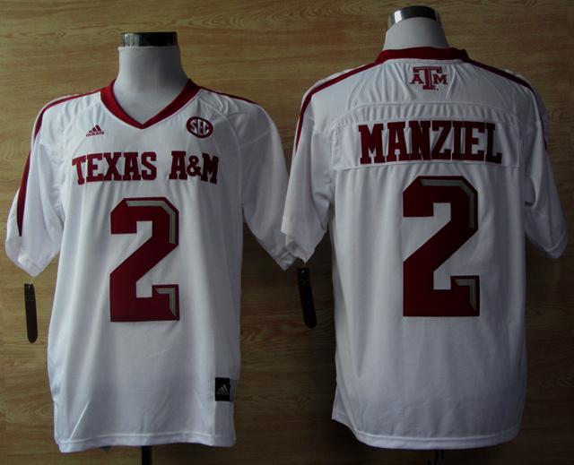 Texas A&M Aggies 2 Johnny Manziel White Jerseys
