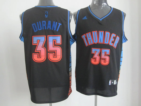 Thunder 35 Durant Black Colorful Number Jerseys