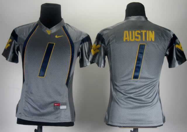 Women West Virginia Mountaineers 1 Austin Grey Jerseys
