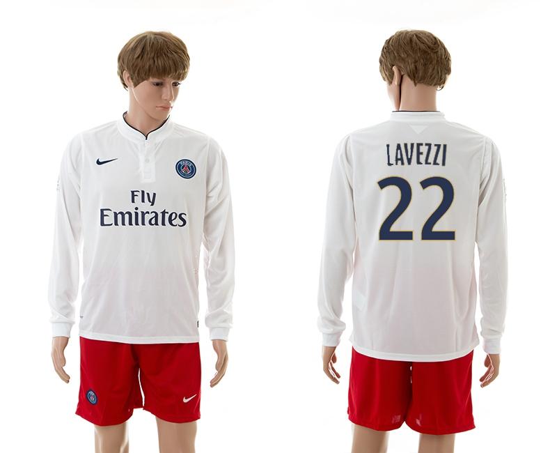 2014-15 Paris Saint Germain 22 Lavezzi Away Long Sleeve Jerseys