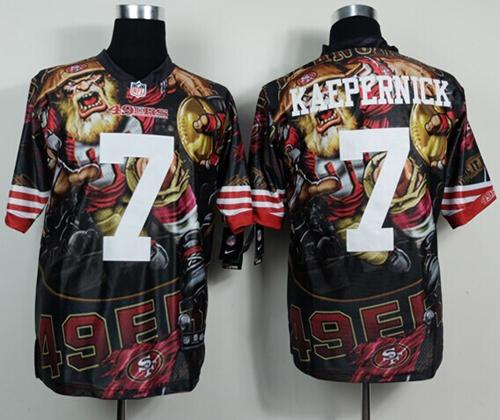 Nike 49ers 7 Kaepernick Stitched Elite Fanatical Version Jerseys