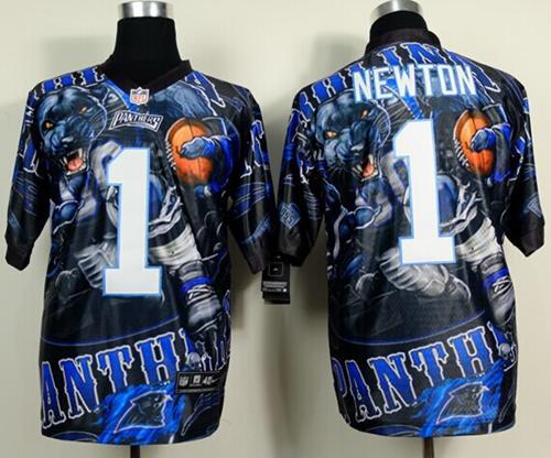 Nike Panthers 1 Newton Stitched Elite Fanatical Version Jerseys