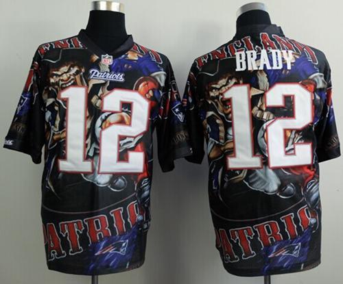 Nike Patriots 12 Brady Stitched Elite Fanatical Version Jerseys