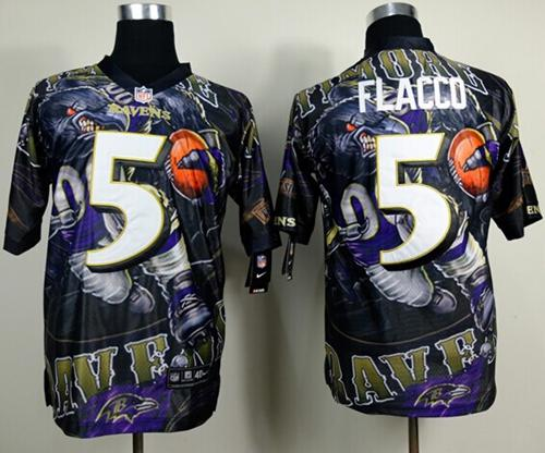 Nike Ravens 5 Flacco Stitched Elite Fanatical Version Jerseys