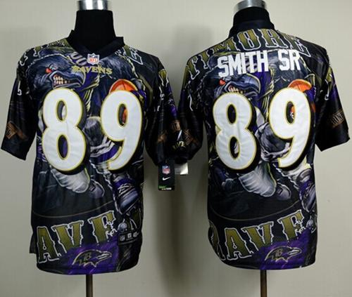 Nike Ravens 89 Smith Sr Stitched Elite Fanatical Version Jerseys