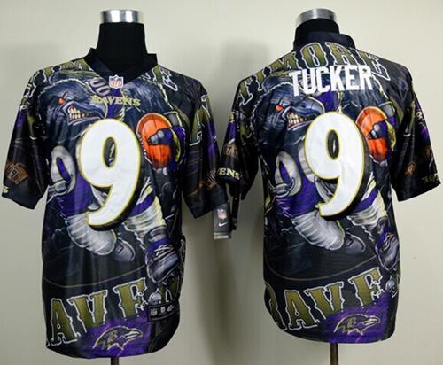 Nike Ravens 9 Tucker Stitched Elite Fanatical Version Jerseys