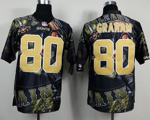 Nike Saints 80 Graham Stitched Elite Fanatical Version Jerseys