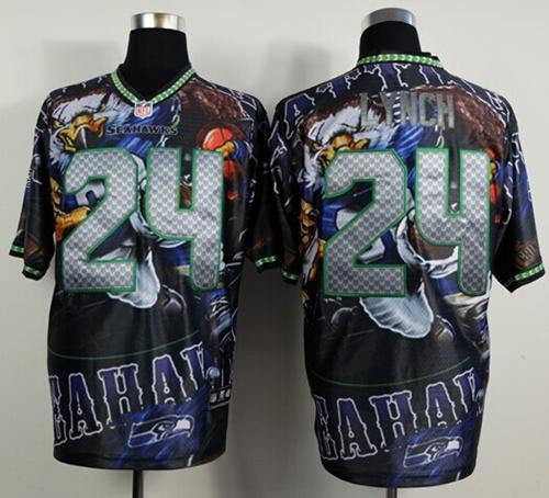 Nike Seahawks 24 Lynch Stitched Elite Fanatical Version Jerseys