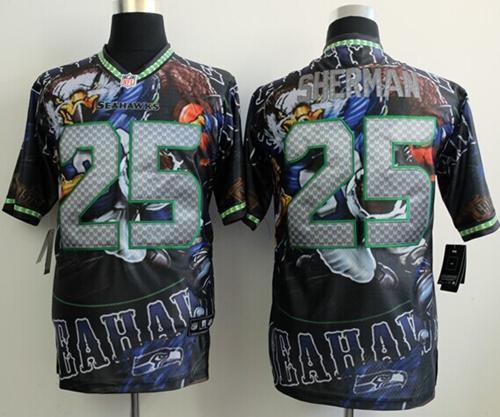 Nike Seahawks 25 Sherman Stitched Elite Fanatical Version Jerseys