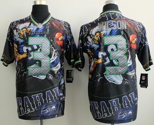 Nike Seahawks 3 Wilson Stitched Elite Fanatical Version Jerseys