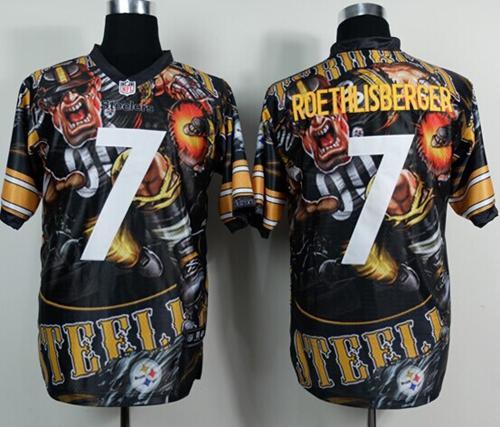 Nike Steelers 7 Roethlisber Stitched Elite Fanatical Version Jerseys