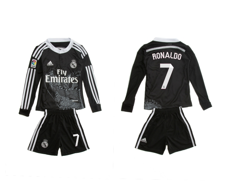 2014-15 Real Madrid 7 Ronaldo Third Away Long Sleeve Youth Jerseys