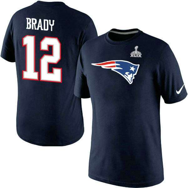 Nike Patriots 12 Brady Blue 2015 Super Bowl XLIX T Shirts