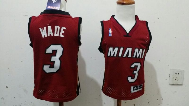 Heat 3 Wade Red Toddler Jerseys