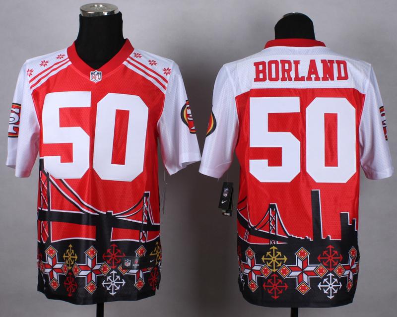 Nike 49ers 50 Borland Noble Elite Jerseys