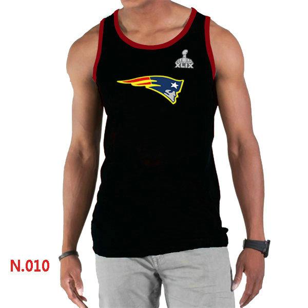 New England Patriots Big & Tall Primary Logo 2015 Super Bowl XLIX Black Tank Top1