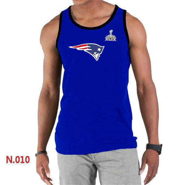 New England Patriots Big & Tall Primary Logo 2015 Super Bowl XLIX Blue Tank Top1