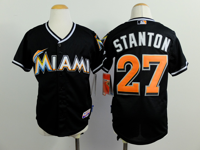 Marlins 27 Stanton Black Youth Jersey