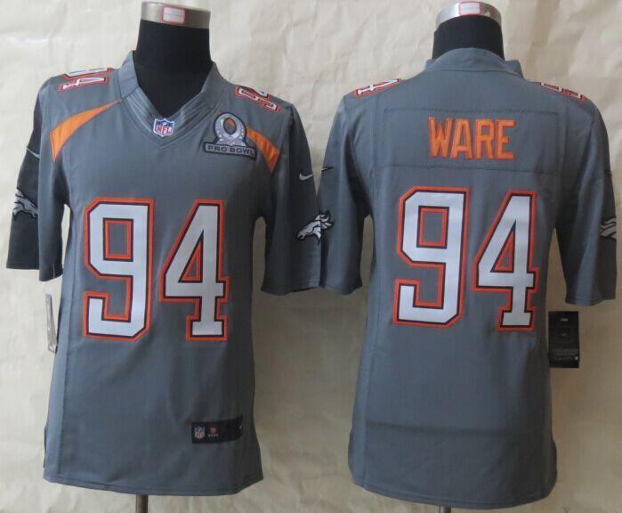 Nike Broncos 94 Ware Grey 2015 Pro Bowl Game Jerseys