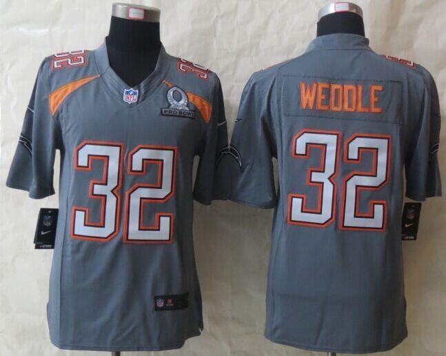 Nike Chargers 32 Weddle Grey 2015 Pro Bowl Elite Jerseys