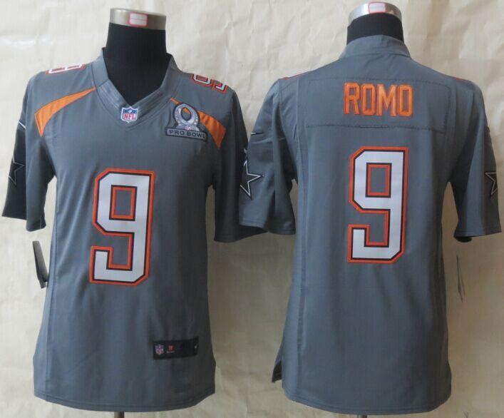 Nike Cowboys 9 Romo Grey 2015 Pro Bowl Elite Jerseys