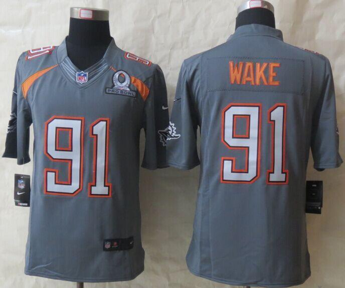 Nike Dolphins 91 Wake Grey 2015 Pro Bowl Game Jerseys