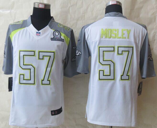 Nike Ravens 57 Mosley White 2015 Pro Bowl Game Jerseys
