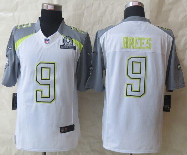 Nike Saints 9 Brees White 2015 Pro Bowl Elite Jerseys