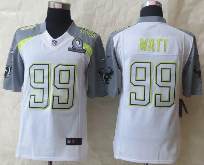 Nike Texans 99 Watt White 2015 Pro Bowl Elite Jerseys