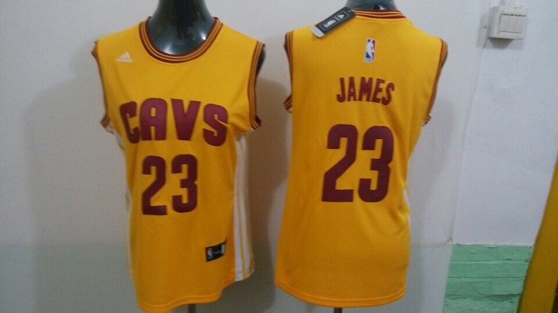 Cavaliers 23 James Yellow Women Jersey