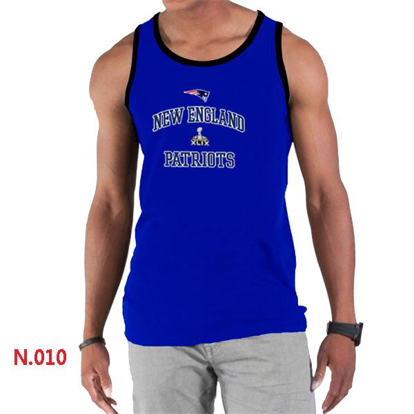 New England Patriots Majestic Super Bowl XLIX Bound Heart & Soul Tank Top Blue