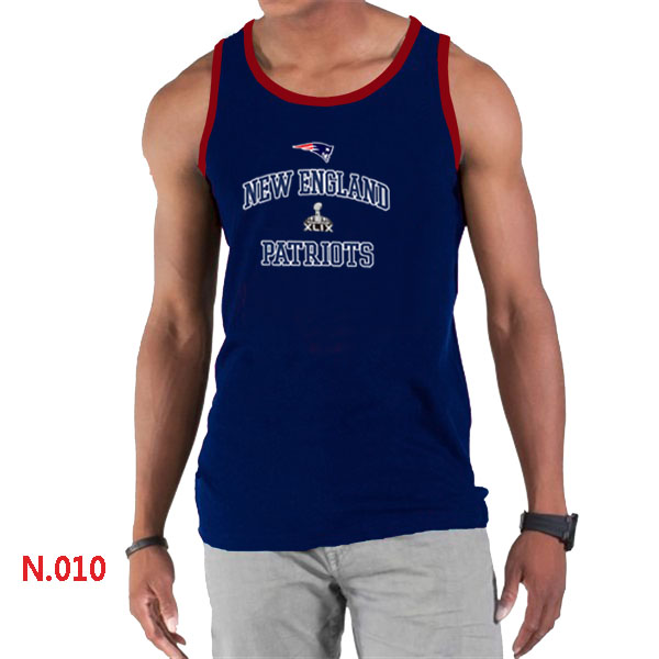 New England Patriots Majestic Super Bowl XLIX Bound Heart & Soul Tank Top D.Blue