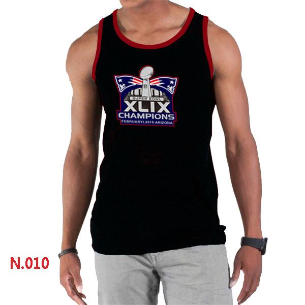 New England Patriots Majestic Super Bowl XLIX Champion Mark Tank Top Black