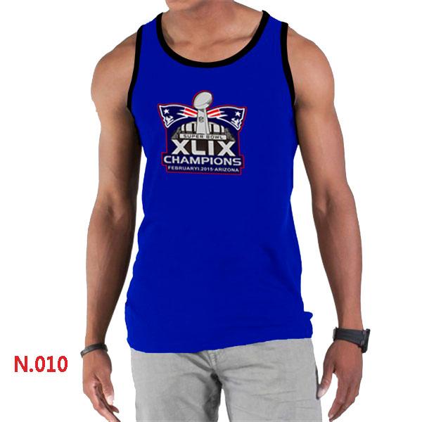 New England Patriots Majestic Super Bowl XLIX Champion Mark Tank Top Blue