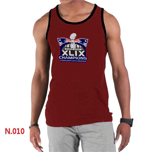 New England Patriots Majestic Super Bowl XLIX Champion Mark Tank Top Red
