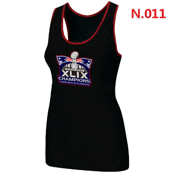 New England Patriots Majestic Super Bowl XLIX Champion Mark Women Tank Top Black