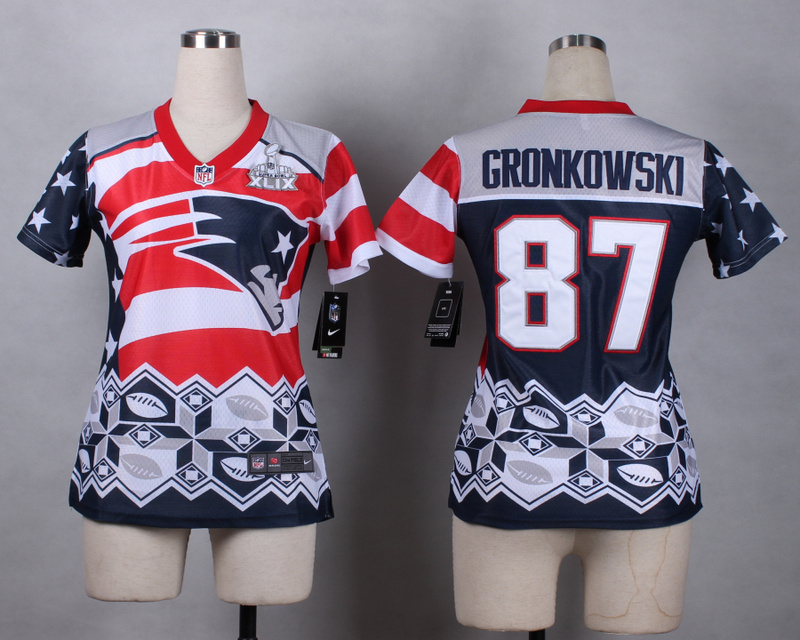 Nike Patriots 87 Gronkowski Noble Fashion 2015 Super Bowl XLIX Women Jerseys