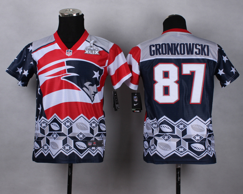 Nike Patriots 87 Gronkowski Noble Fashion 2015 Super Bowl XLIX Youth Jerseys