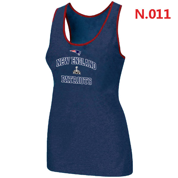 Patriots Majestic Super Bowl XLIX Bound Heart & Soul Women Tank Top Blue
