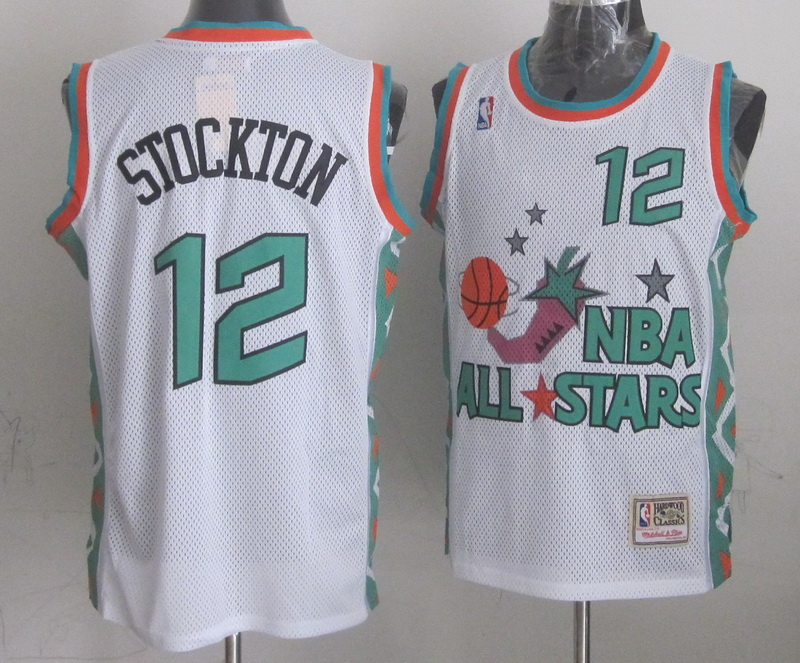 1996 All Star 12 Stockton White Jerseys