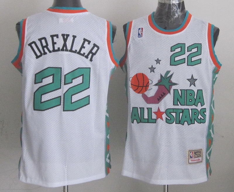 1996 All Star 22 Drexler White Jerseys