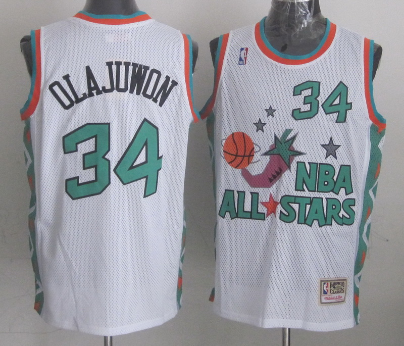 1996 All Star 34 Olajuwon White Jerseys