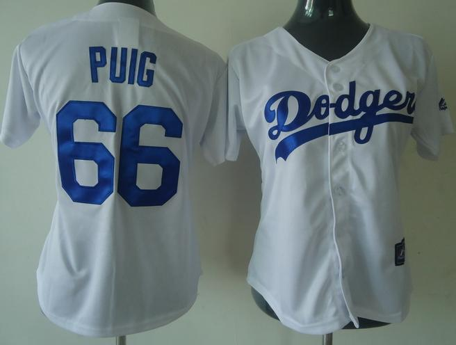 Dodgers 66 Puig White Women Jersey