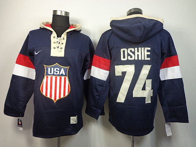 USA 74 Oshie Blue 2014 Olympics Hooded Jerseys
