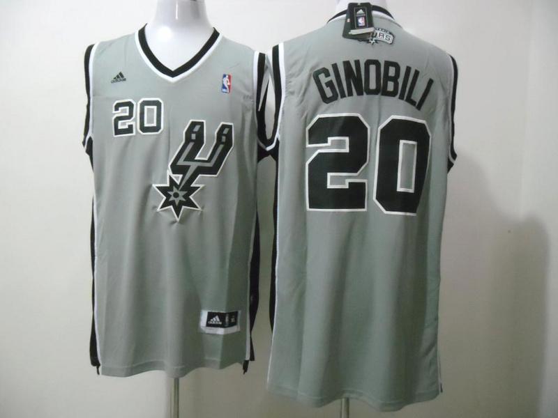 Spurs 20 Ginobili Grey New Revolution 30 Jerseys