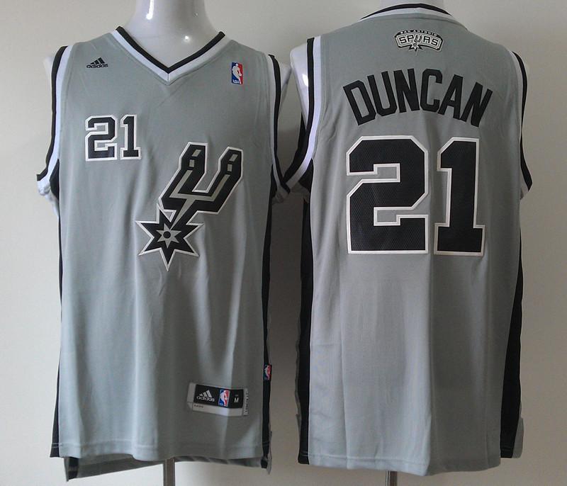 Spurs 21 Duncan Grey New Revolution 30 Jerseys