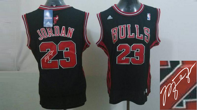 Bulls 23 Jordan Black Signature Edition Women Jerseys