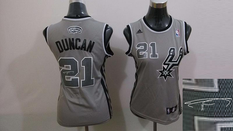 Spurs 21 Duncan Grey Signature Edition Women Jerseys