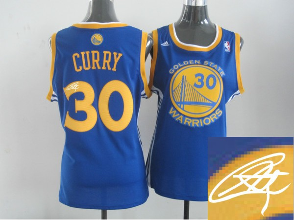 Warriors 30 Curry Blue Signature Edition Women Jerseys