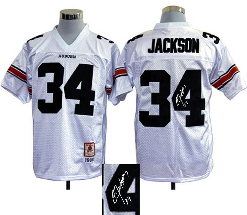 Auburn Tigers 34 Jackson White Signature Edition Jerseys